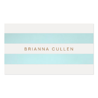 Simple Chic Striped Turquoise Blue Elegant Double-Sided Standard Business Cards (Pack Of 100)