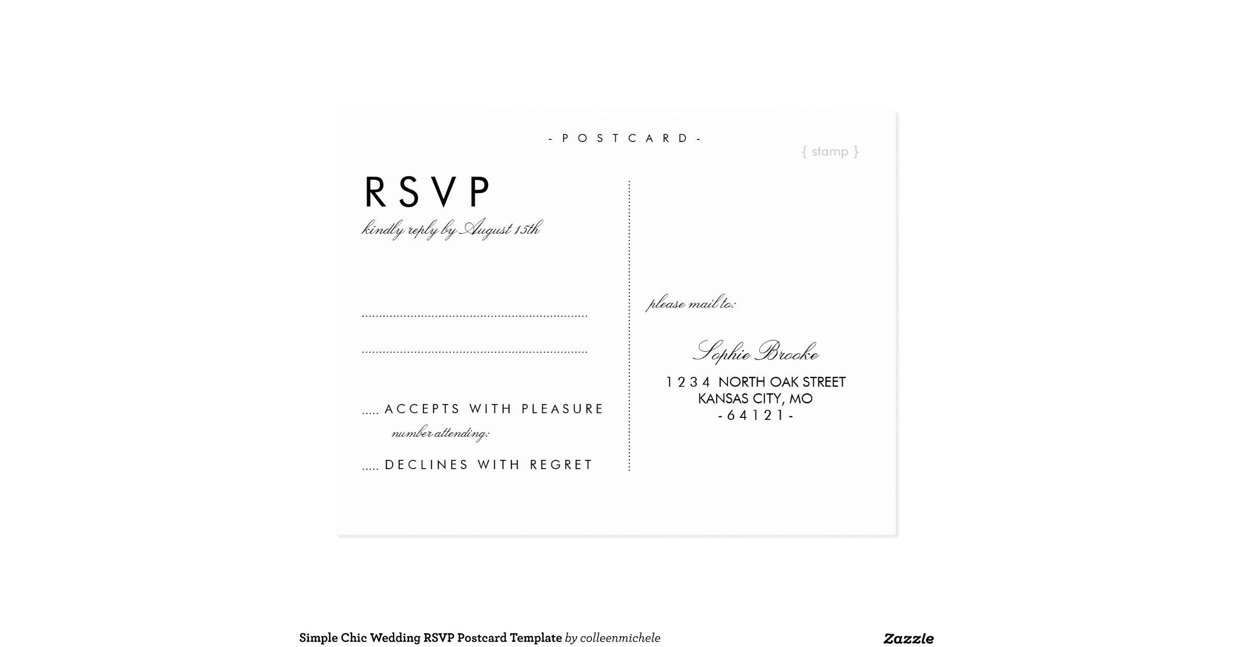 simple chic wedding rsvp postcard template zazzle