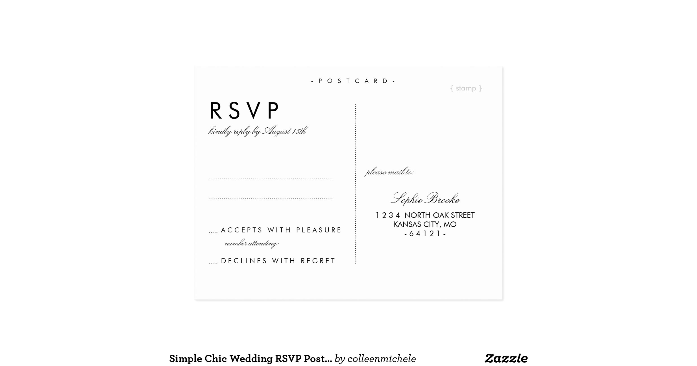 simple chic wedding rsvp postcard template