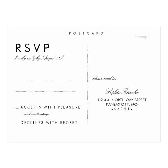 Simple chic wedding rsvp postcard template zazzle for Wedding rsvp templates