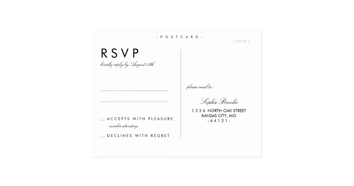 Simple Chic Wedding Rsvp Postcard Template | Zazzle