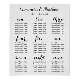 Wedding seating chart posters zazzle simple chic wedding seating chart junglespirit Image collections