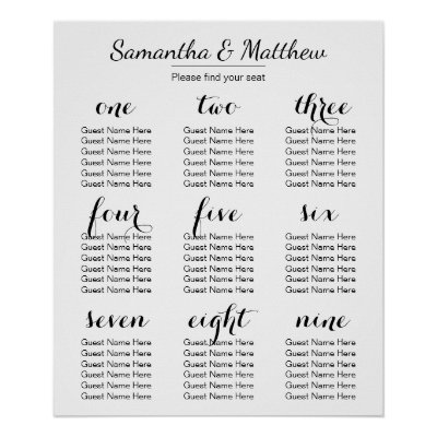 Wedding seating chart poster gold calligraphy zazzle com
