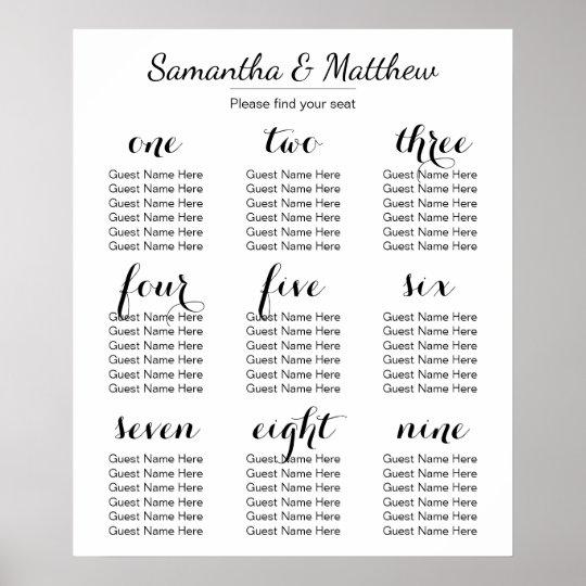 Seating Chart Wedding.Simple Chic Wedding Seating Chart