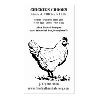 Simple Chicken or Egg Farm in Black and White Double-Sided Standard Business Cards (Pack Of 100)