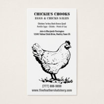 Simple Chicken or Egg Farm in Black and White Business Card