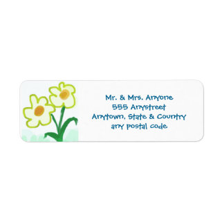 Simple Childish Flowers Watercolor Finger Painting Label