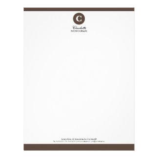 Simple Chocolate Brown & White Monogram Letterhead