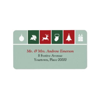 Simple Christmas Icons Address Label label