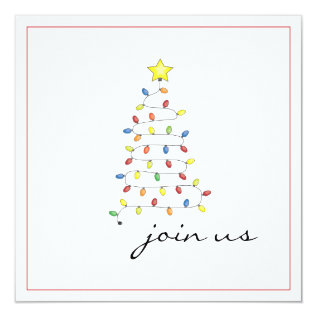 Simple Christmas Light Tree Party Invitation at Zazzle