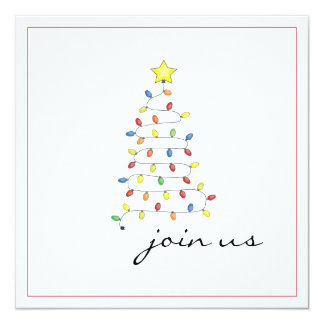Simple Christmas Light Tree Party Invitation
