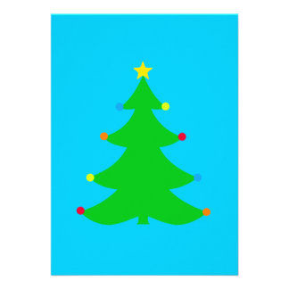 Simple Christmas Tree Party Invitation (blue)