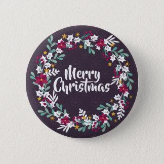 Simple Christmas Wreath Purple | Pin Button