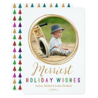 Simple Circle Wishes Photo Holiday Flat Card