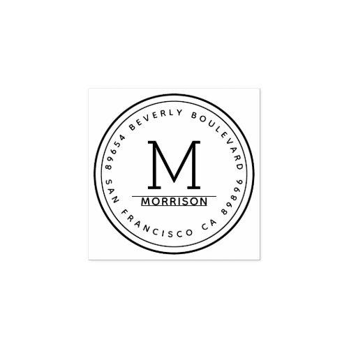 Simple Circular Border  Monogram Return Address Rubber Stamp