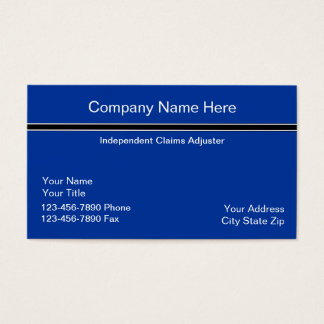 Simple Claims Adjuster Business Card