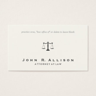 Simple Classic Attorney Scales of Justice Business Card