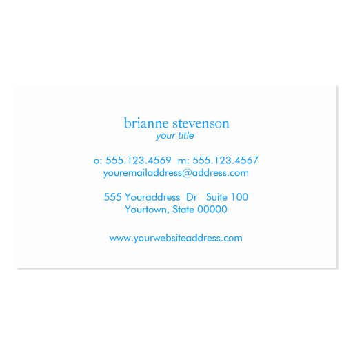 Simple & Classic Beauty Turquoise Blue Linen Look Business Card (back side)