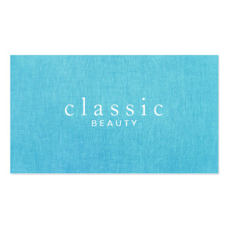 Simple & Classic Beauty Turquoise Blue Linen Look Double-Sided Standard Business Cards (Pack Of 100)