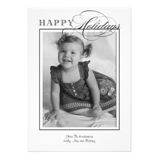 Simple Classic Black and White Holiday Photo Card Invite