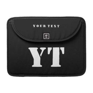 Simple Classic Black Monogram MacBook Pro Sleeve