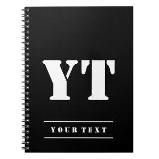 Simple Classic Black Monogram Notebook
