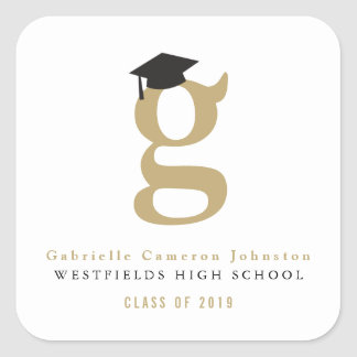 Simple Classic Grad Monogram Graduation Stickers