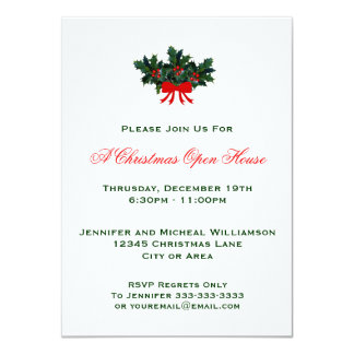 Simple Classic Holly Christmas Open House or Party Card