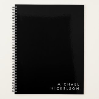 Simple Classic Masculine | Name on Black Planner