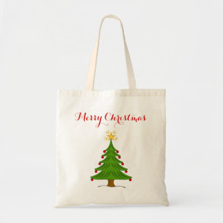 Simple Classic Merry Christmas Tree and Star Tote Bag