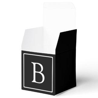 Simple Classic Monogram | Black w/ White Text Favor Box