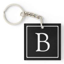 Simple Classic Monogram   Black w/ White Text Keychain