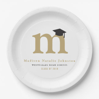 Simple Classic Monogram Graduation Paper Plates
