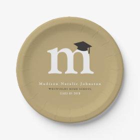 Simple Classic Monogram Graduation Paper Plates 7 Inch Paper Plate