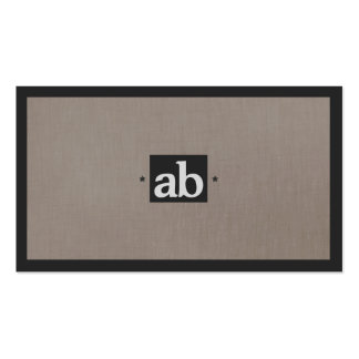 Simple Classic Taupe Faux Linen Monogram Modern Business Cards
