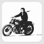 Simple Classic Vintage Motorcycle Square Stickers