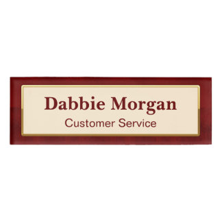 Simple Classic Vintage Red Gold Frame Pattern Name Tag