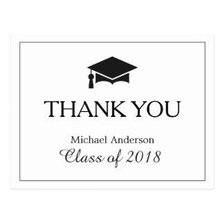 Simple Classy Black White Graduation Thank You Postcard