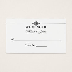 Simple Classy Black White Wedding Table Number Business Card at Zazzle