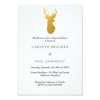 Simple Classy Gold Antler Modern Rehearsal Dinner Card