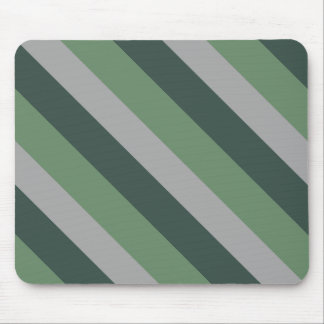 Simple Classy Greens and Gray Striped Pattern Mouse Pad
