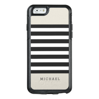 Simple Classy Linen Beige Black Grey Stripes OtterBox iPhone 6/6s Case
