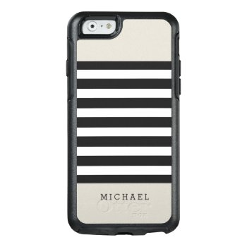 Simple Classy Linen Beige Black Grey Stripes Otterbox Iphone 6/6s Case by CityHunter at Zazzle