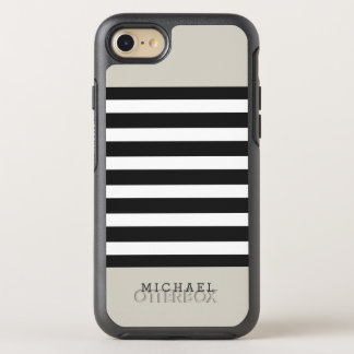 Simple Classy Linen Beige Black Grey Stripes OtterBox Symmetry iPhone 7 Case