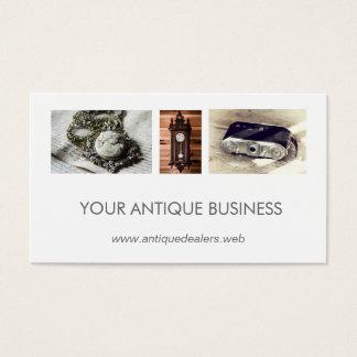 Simple Clean Antique Dealer Photo Collage Business Card