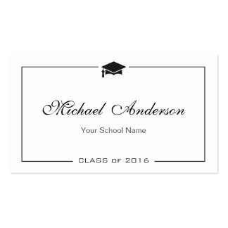 Simple Clean Black and White Graduation Name Card Business Cards