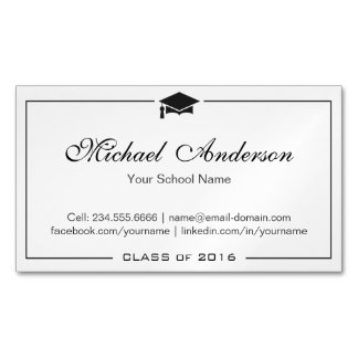 Simple Clean Black and White Graduation Name Card Magnetic Business Card