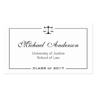 Simple Clean Black and White Law School Student Business Card