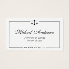 Simple Clean Black And White Law School Student Business Card at Zazzle