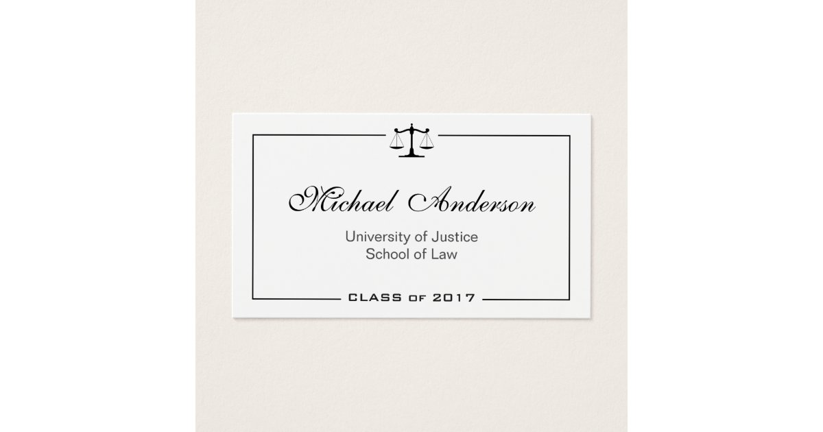Simple Clean Black and White Law School Student Business Card ...
